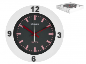 H&H Gray Wall Clock Round 25 Clock And Alarm Clock Italian Style Exclusive Brand