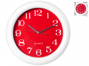 H&H Wall Clock Round Red 40 Clock And Alarm Clock Italian Style Exclusive Brand