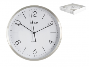 H&H Round Wall Clock Aluminum/Silver 25 Clock And Alarm Clock Italian Style