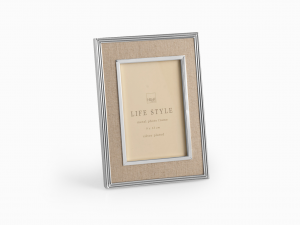 H&H Photoframe Beige Fabric 9X13 Frames And Mirrors Italian Style Exclusive Brand