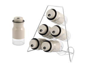 H&H Italian Spice Rack with 6 Glass Jars with Stainless Steel Stand Glass & Plastic