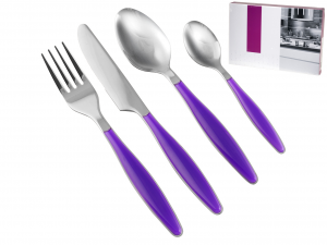 H&H Cutlery 24 Pieces Service Lady Lilac Handle Italian Style Exclusive Brand