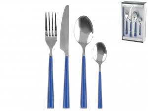 H&H Flatware Set 24 Pcs Blue Handles Table Furniture Italian Style Italy