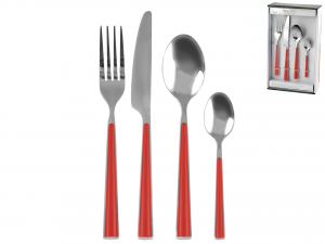 H&H Flatware Set 24 Pcs Red Handles Table Furniture Italian Style Exclusive Brand