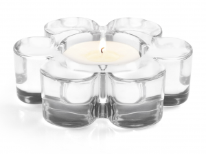 H&H 4 Tealight Holder Glass Flower Candles And Cm10 Italian Design Exclusive Brand