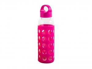 H&H Set 3 Bottle borosilicate / Silicone Fuchsia Plastic Cap 0.36 Cl Italy