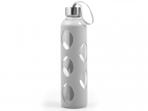 H&H Set 3 Borosilicate Bottle With Silicone cap Gray Inox 0.6 Cl Italian Style
