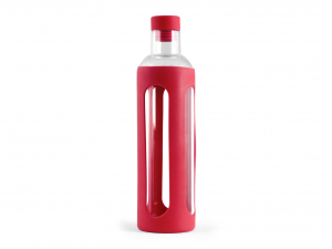 H&H Set 3 Borosilicate Bottle With Silicone Red Lt0,56 Italian Style Italy