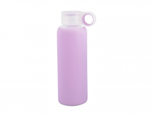 H&H Set 3 Bottle borosilicate / Silicone Lilac Plastic Cap 0.36 Cl Made in Italy