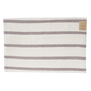 H&H Set 6 Striped Ramie Cotton Table Mat 45X30 Cm Italian Style Exclusive Brand