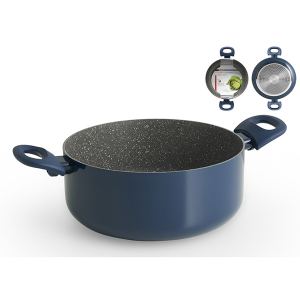 HOME PROFESSIONAL Italian Casserole with 2 blue handles stone nonstick induction CM24