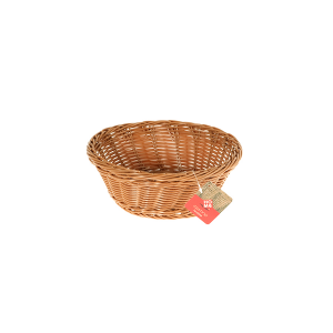 HOME Set 3 Baskets Round Plastic Brown 21 Storage Boxes Top Italian Style