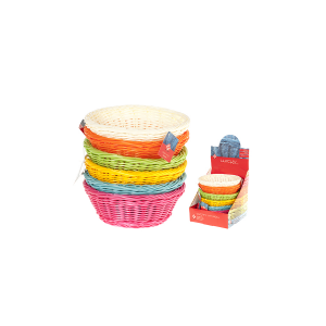 HOME Set 6 Baskets Round Colored Plastic Cm21 Storage Boxes Top Italian Style