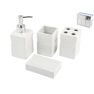 HOME Bath Pack 4-Piece Ceramic Isabel Exclusive Brand Design Made in Italy