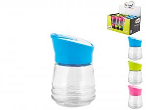 HOME Pack 48 Salt / Pepper Glass 90cc cap Colored Display Top Italian Brand