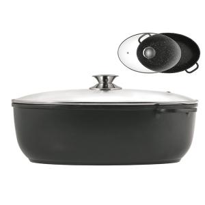 OFFICINE STANDARD  Aluminum oval saucepan with pot lid 38x25 cm Italian Style