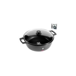 PINTI INOX Italian Saucepan 2 Handles With Non-Stick Efficient Cm28 Lid Kitchenware