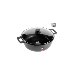 PINTI INOX Saucepan 2 Handles With Non-Stick Efficient Cm36 Lid Italian Style