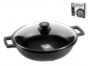 PINTI INOX Non-Stick Pan 2 Handles Efficient With Cm36 Lid Kitchenware Italy