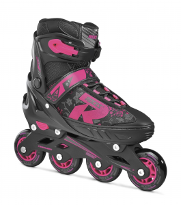 ROCES Italian Roller Skates Extendable In Line Jokey 2.0 Girl Black Pink 400827