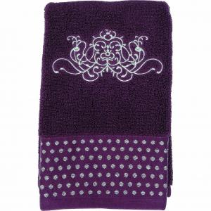 Asciugamano Viso, Linea Arabesque colore prugna, Mathilde M.