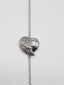 Bracciale Donna in argento con cuore e ala di Angelo, vendita on line | GIOIELLERIA BRUNI Imperia