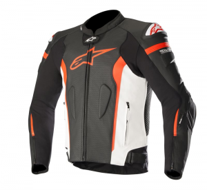 GIACCA IN PELLE ALPINESTARS MISSILE BLACK WHITE RED FLUO AIR COD. 3100118