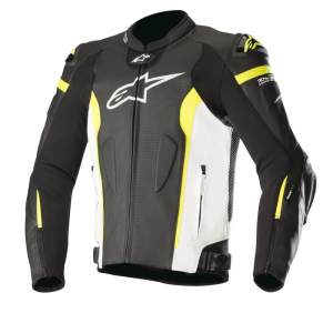 GIACCA IN PELLE ALPINESTARS MISSILE BLACK WHITE YELLOW FLUO AIR COD. 3100118
