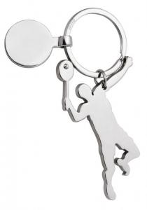 Portachiavi giocatore Tennis con gettone cm.4,2x9,6x0,4h