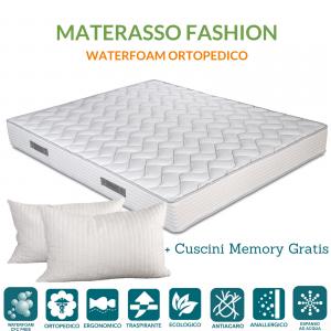 Materasso in Waterfoam alto 20 cm Ortopedico, Rivestimento effetto Massaggiante, con Cuscini Memory Foam Gratis | FASHION 2.0