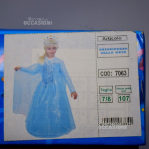 Costume Carnevale Principessa Azzurro Anni 7-8