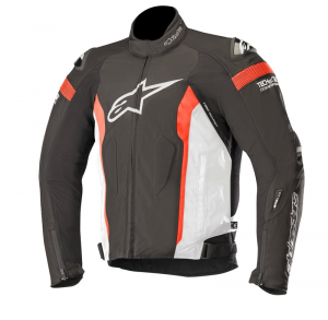 GIACCA IN PELLE ALPINESTARS T-MISSILE DRYSTAR BLACK WHITE RED FLUO COD. 3200518