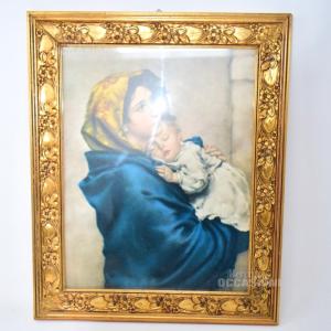 Quadro Madonna Con Gesù Cornice Legno In Oro