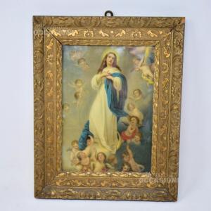 Quadro Madonna Cornice Legno Antico 35 * 28 Cm