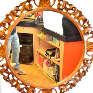 Specchio Rotondo Decoro In Legno D'orato