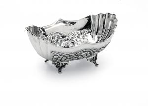 Ciotola ovale stile cesellato argentato argento sheffield cm.26x16