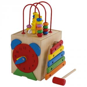 Cubo Dado didattico in legno gioco per bambini con xilofono e forme