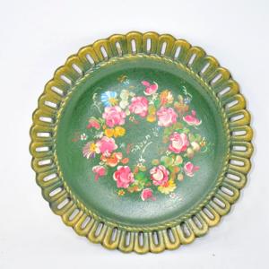 Piatto Verde Ceramica Da Appendere Decorato