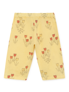 Pantalone giallo unisex stampe nere rosse