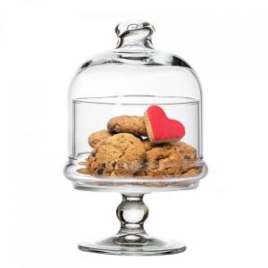Alzata pasticceria per dolci e frutta in vetro con campana in vetro cm.18,5h diam.10