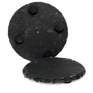 Sottobicchiere tondo in ardesia Set 4 pezzi cm.diam.10