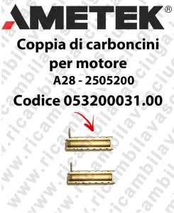 COPPIA di Carboncini motor de aspiración para motore  Ametek A28 - 2505200 2 x Cod: 053200031.00-2
