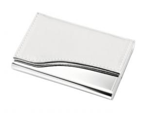 Portabiglietti metallo e simil pelle bianca cm.9,3x6,5x1,2h