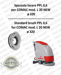 L 20 NEW Cepillo Standard  in PPL 0,60 Dimensiones ø 495 X 120 3 pioli para fregadora COMAC