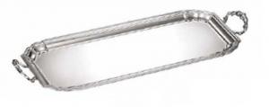 Vassoio rettangolare con manici stile Settecento 700 placcato argento cm.63x24