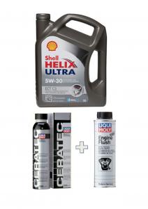 Kit Shell Helix Ultra ECT C3 5W/30 barattolo 5 Litri + Liquimoly Ceratec+Engine Flush