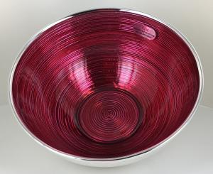 Ciotola in vetro argentato color rosso collezione marte diametro 15 cm