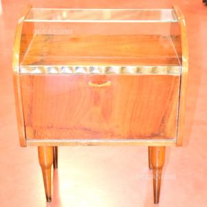 Comodino Vintage In Legno Con Piano In Vetro