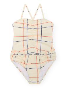 Costume da bagno beige ragazza stampa blu arancione