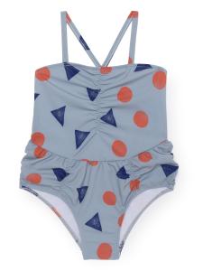 Costume da bagno celeste bambina stampe blu arancioni